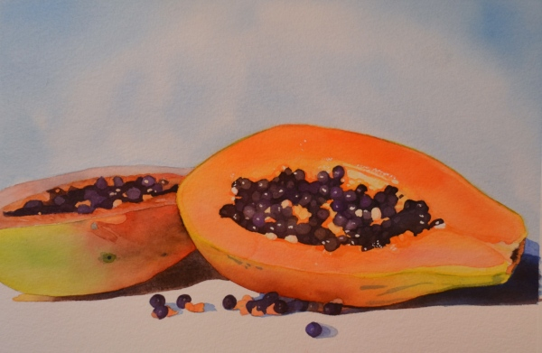 Juicy Papaya, watercolor